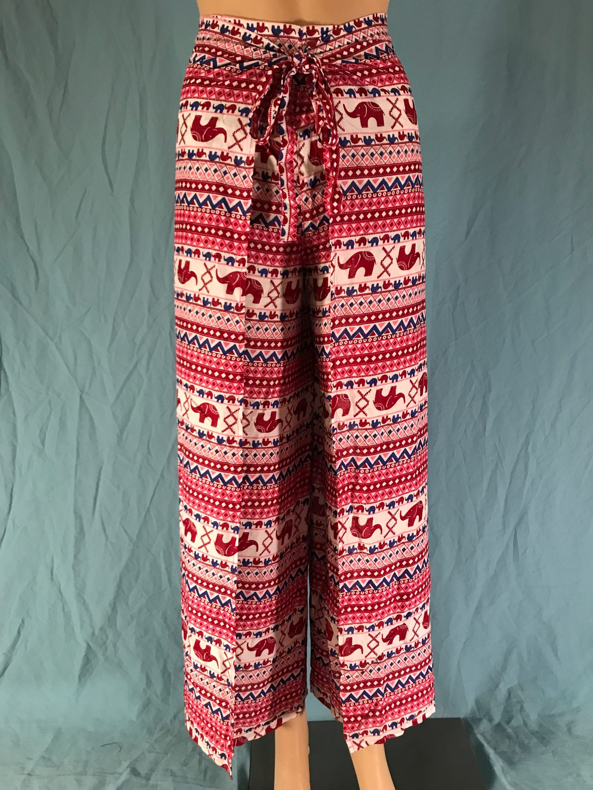 Red and Blue and Pink Elephant Stripe Wrap Pants