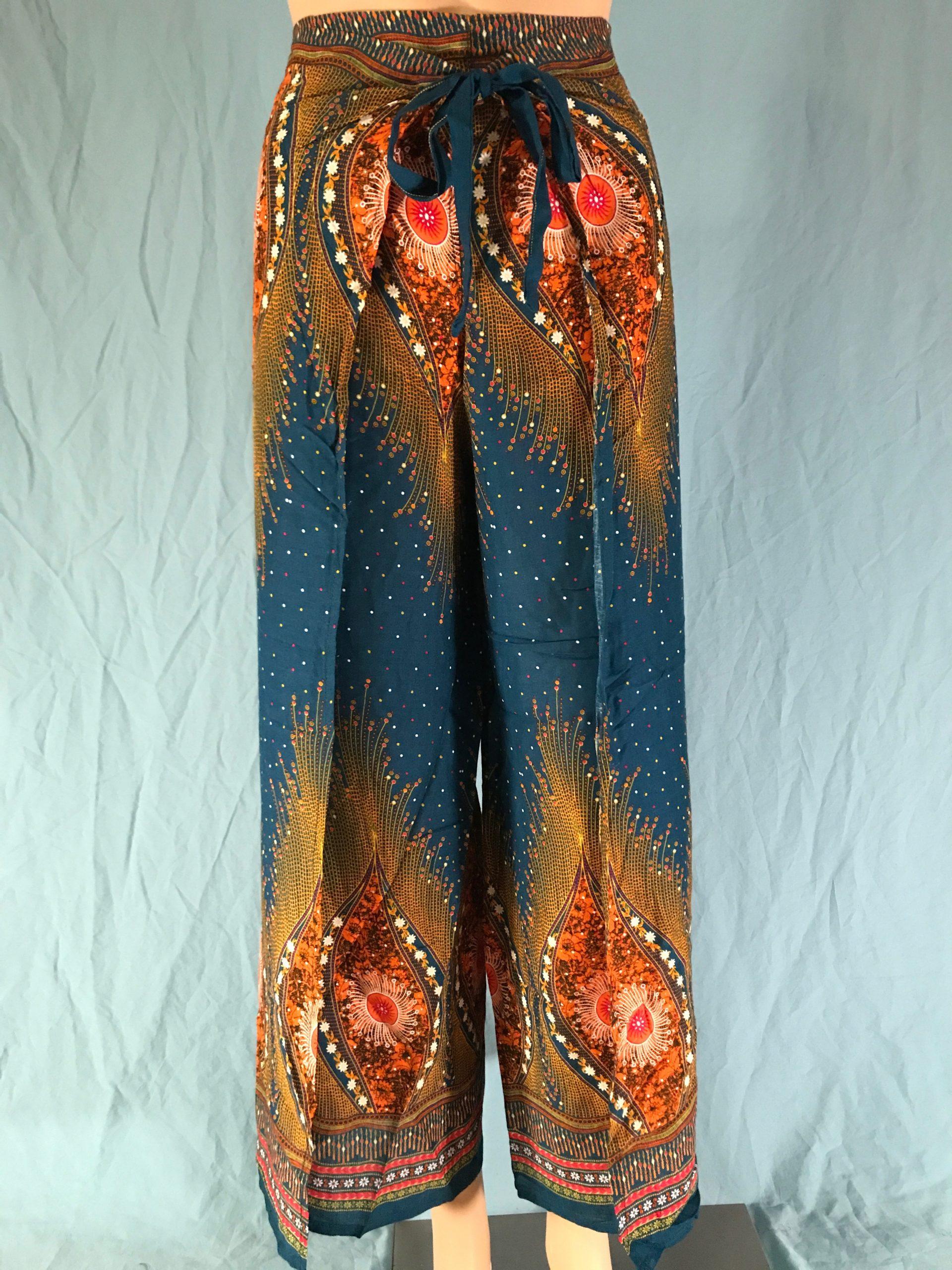 Orange and Teal Peacock Wrap Pants