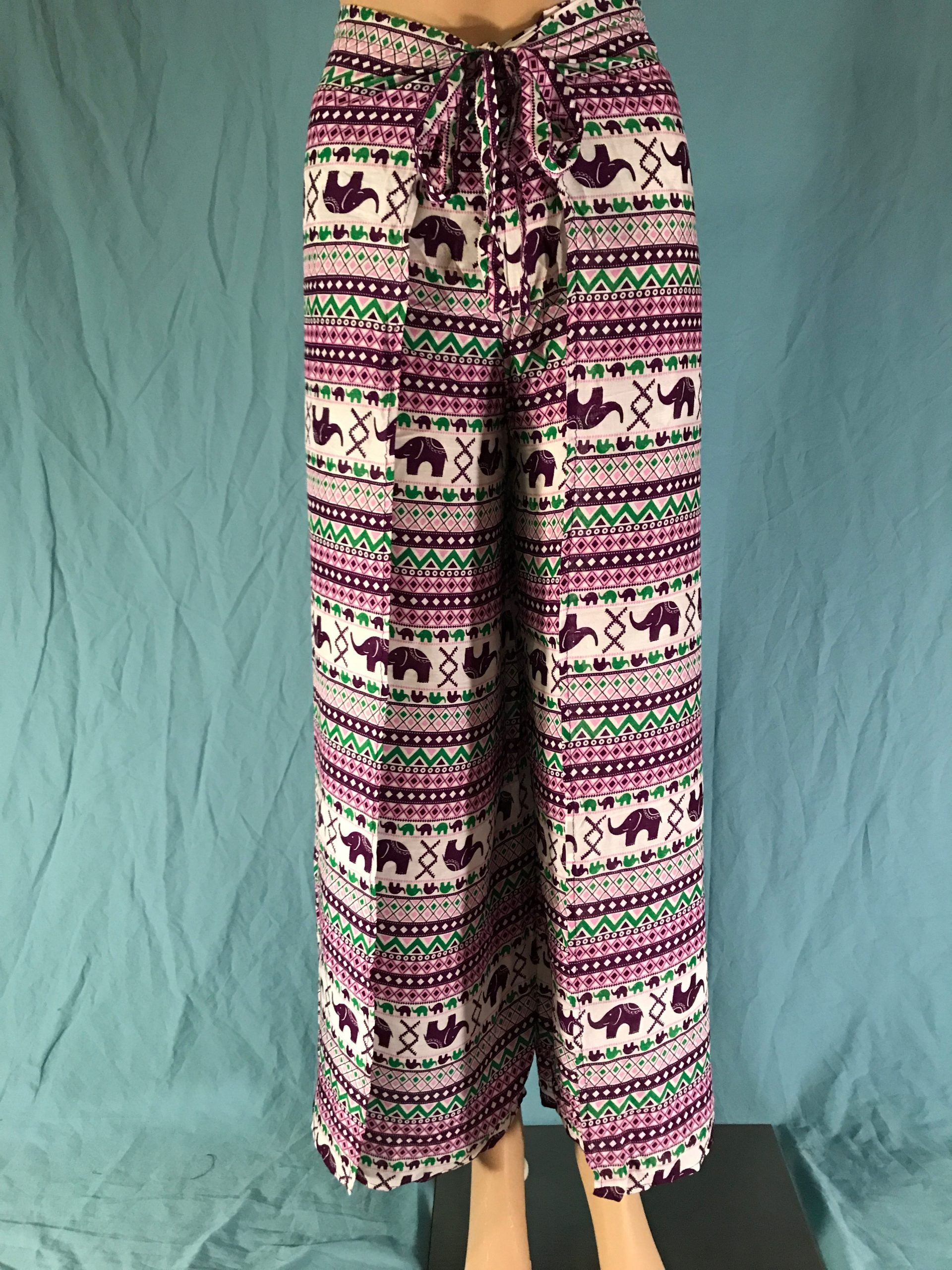 Purple and Green and Pink Elephant Stripe Wrap Pants