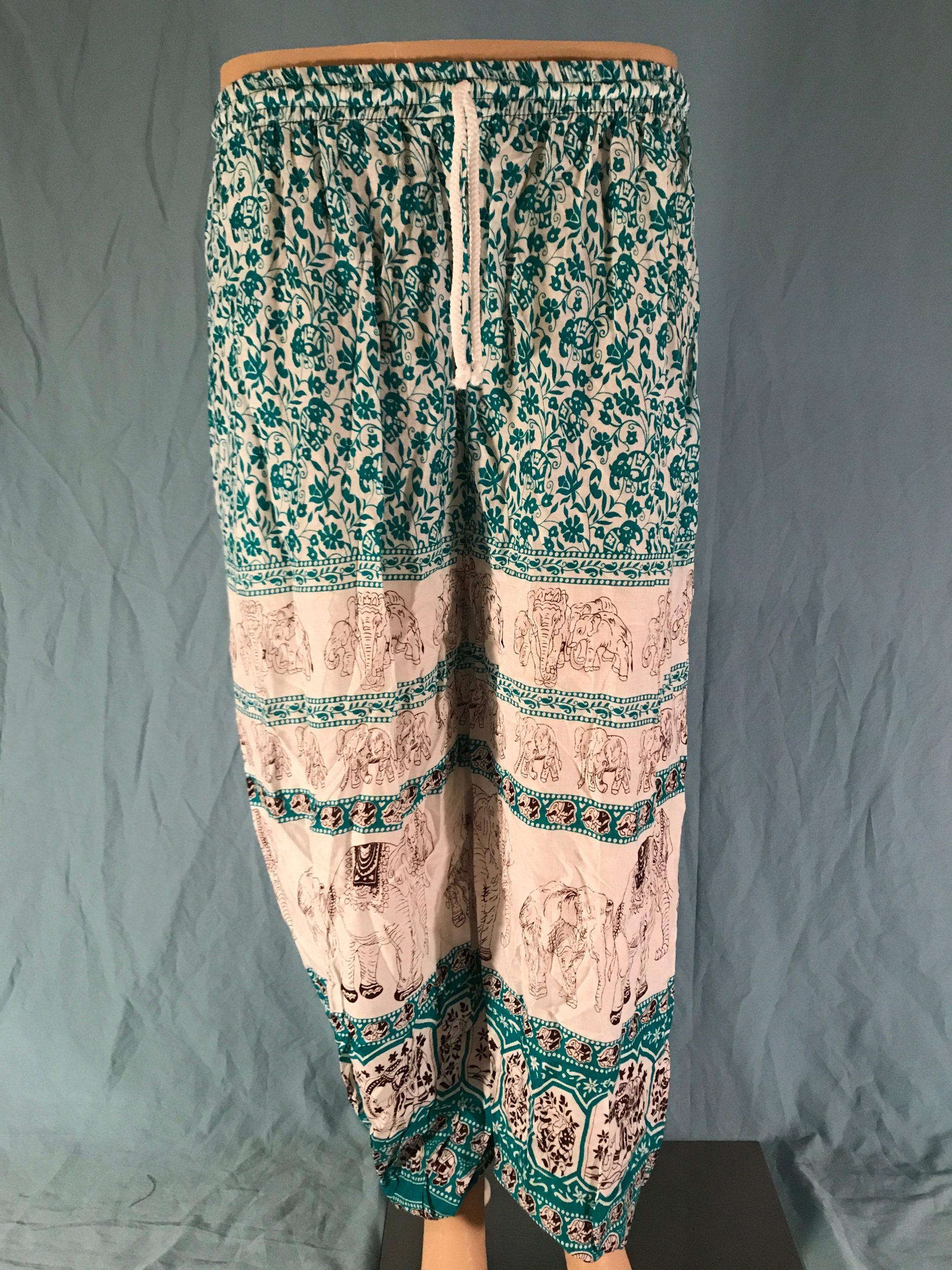 Green and Cream Floral Elephant Stripe Elephant Pants