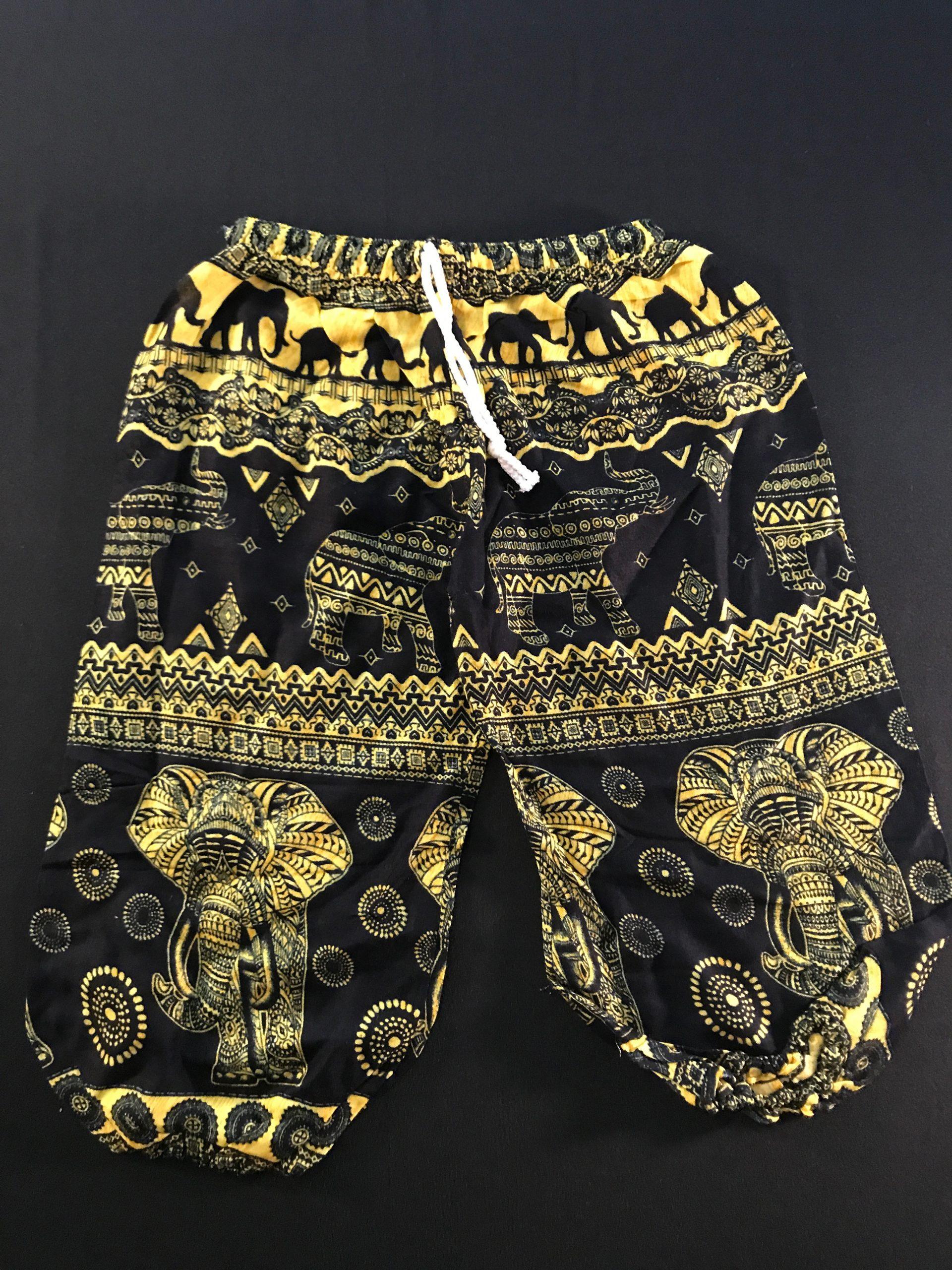 Black and Yellow Elephant Print Size XS Kids Elephant Pants