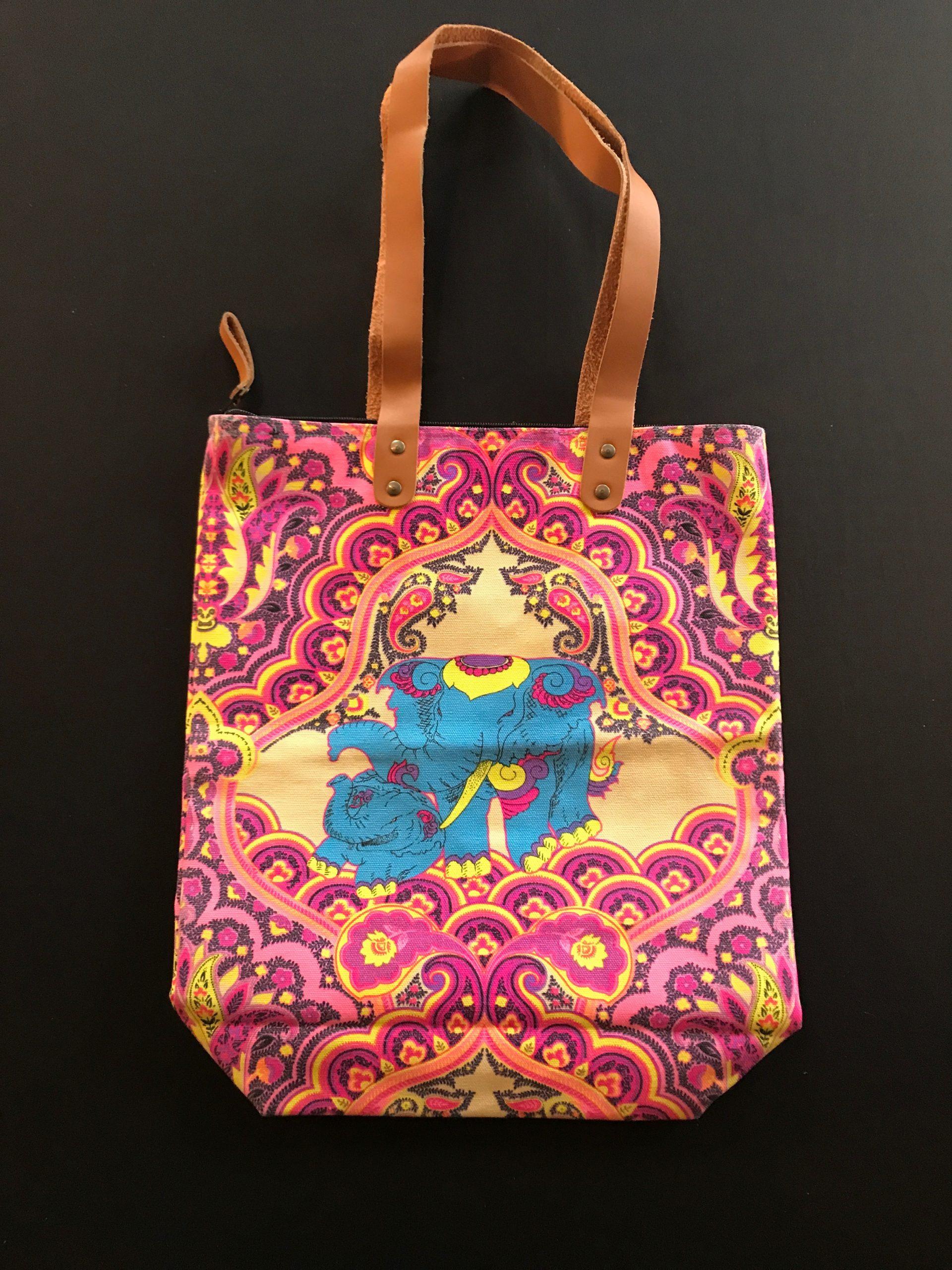 Yellow/Fuschia Elephant Bag