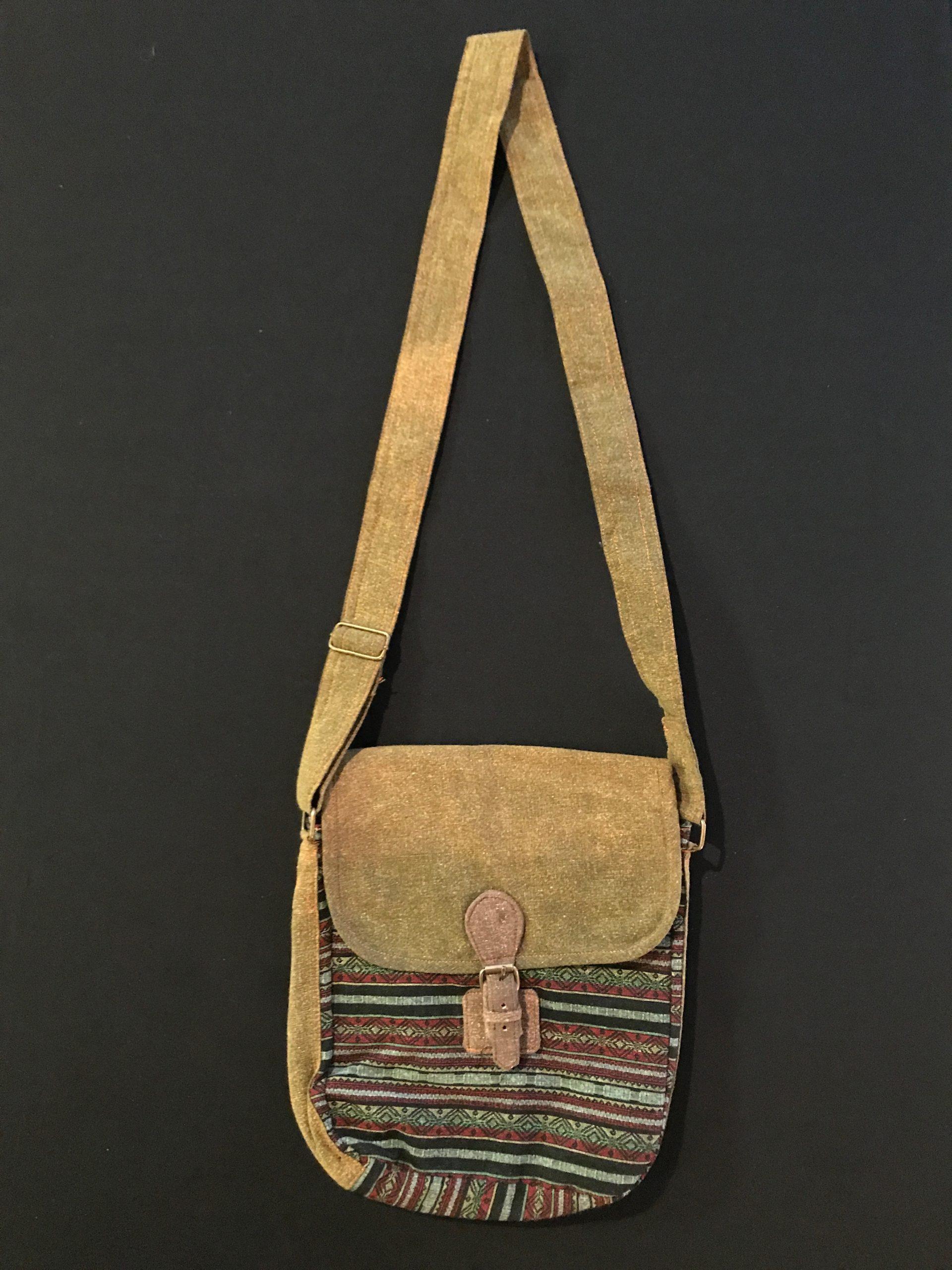 Mustard with Blue Stripe Messenger Bag